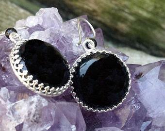 Black Onyx Round Sterling Silver Earrings E-0427