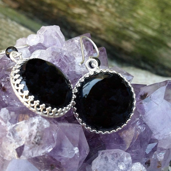 Black Onyx Round Sterling Silver Earrings E-0427