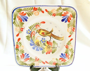 Henriot Quimper French Vintage Hand Painted Bird Floral Square Plate (C034)