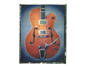Gretsch guitar art print / music gift / rock n roll art / music room decor / guitar gift / man cave art