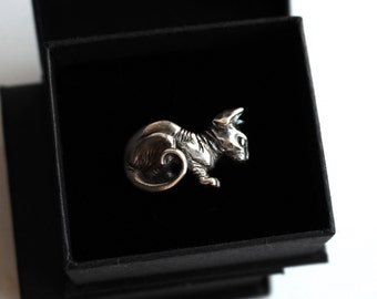Sphynx cat, Sterling Silver Cuff Ring
