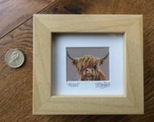 Mini Moo Mabel The Highland Cow - Minature Framed Artist's Print available in white, black, silver or wood frame.
