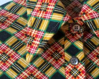 70s Diagonal Half Button Shirt Check Yellow Green Red