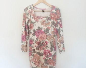 80s Floral Pastel Stretchy Shift Dress Long Sleeves Womens