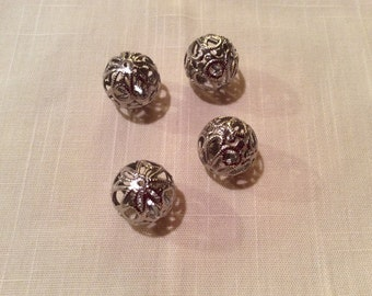16mm Silver Filigree Beads ~ Package of Six