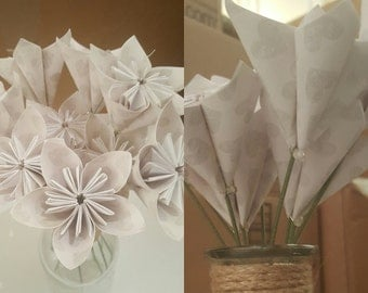 MOVING SALE: White with Subtle Gray Hearts Bouquet of 9 stemmed flowers