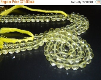 20%off. 8 Inches Long Strand-Superb-Natural Lemon Quartz Faceted Round  Concave Shape Beads-Faceted Gemstone-size 7mm