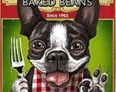 Vintage Boston Terrier Baked Beans Print Decoupaged on Wood