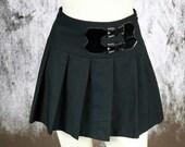 Black Skirt Mini Women's Vintage Pleats Plies