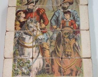Vintage Wooden Block Victorian Scenes Parlour toy Puzzle 6 different Images