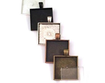 24 1 inch square pendants and glass tiles in your choice of colors