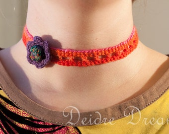 Orange Hippie Necklace, Boho Necklace, Crochet Choker Necklace, Eco Friendly Necklace, Flower Necklace, Strawberry Necklace, Floral Jewelry