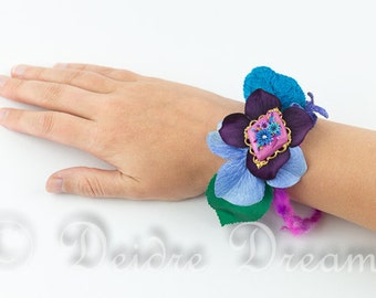 Pink Boho Bracelet, Hippie Fiber Bracelet, Flower Corsage Bracelet Silk Wrist Cuff Floral Bracelet Woodland Jewelry Botanical Garden Jewelry