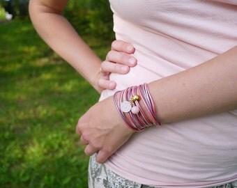 Rose Quartz Summer Bracelet, Lavender Lilac Wrap Bracelet, Rose Mandala Bracelet, Minimalist Jewelry, gift for her, boho chic