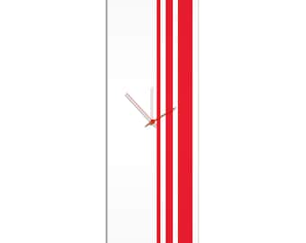 Large Modern Clock 'Red Triple Stripe Clock' by Adam Schwoeppe - Wall Decor Minimalist Accent Piece on Acrylic