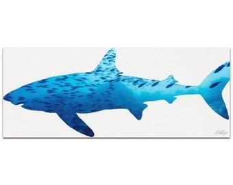 Shark Seascape   Contemporary Metal Animal Silhouette Art, Sea Life Artwork on White, Minimalist Sharks Art, Modern Wall Decor