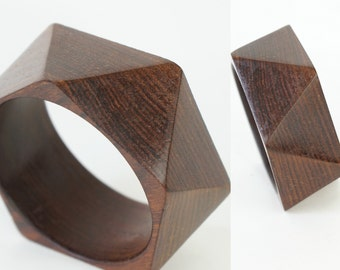 Geometric Angled Wood Bangle