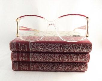 Sparkly Eyeglasses, Vintage Mod Glasses, Womens Marbled Pink Lavender Purple and Gold Frames, Wide Glasses