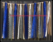 Rustic Charm Wedding Burlap and Royal Blue and Ivory Hanging Garlands Swag Rag Tie Backdrop Country decor, Hanging photo backdrop Prop Lace