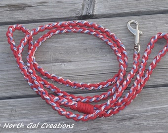 Red White and Blue Leash,Paracord Dog Leash,, Red Pet Leash, Patriotic Dog Leash,  6 Foot Leash, Made in Michigan, Bug Out, Survival Gear