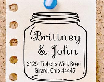custom address stamp,SELF INKING Return address stamp,personalized family address stamp,wedding address stamp,mason jar,S55