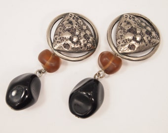 """Vintage 80's Earrings - Clip on - Rustic Design - Distressed Silver Metal - Glass Bead Dangles - Non-Pierced Clip-on Clasps - 2  1/8"""""""