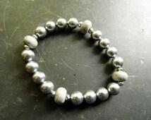 Bracelet, pearls, polymer clay, Millefiori, grey, jewelry
