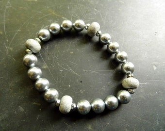 Bracelet, pearls, polymer clay, Millefiori, grey, jewelry