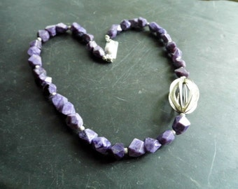 Chain, Chariot, sterling silver, silver ball, lilac, jewelry, Charoitkette