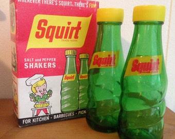 Vintage Squirt Soda Salt and Pepper Shakers / Vintage Salt Shakers