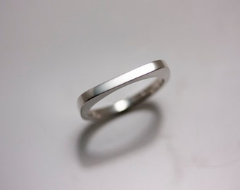 Sterling Silver Sculptural Minimalist Flat Top Ring