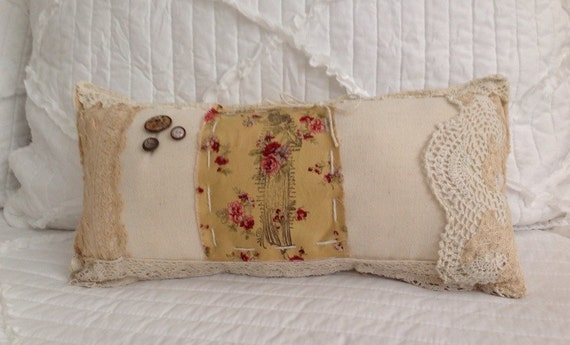 Old world vintage lace Edwin style pillow shabby chic