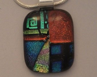 Fused Dichroic Glass Multi-Colored Pendant - BHS03481