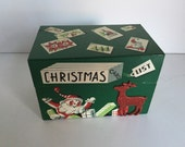 Vintage Metal Christmas Card Index Box Mayfair Co Chicago Illinois