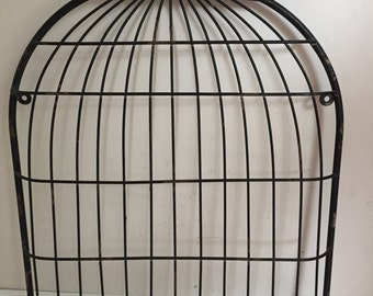 Vintage Black Metal Bird Cage Wall Hanging Message Station