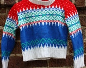 Baby size 12 monthsVintage Ugly Christmas Sweater---Classic Red and Blue