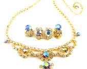 Rhinestone Jewelry Set Bib Necklace Clip On Earrings Peacock Aurora Borealis BONUS Pair Clip Ons