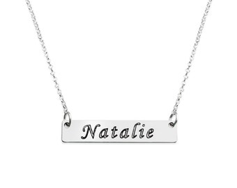 Silver nameplate necklace / Nameplate necklace / Sterling Silver nameplate