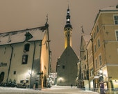Travel wall art, print of snowy streets in medieval old town Tallinn at night, Tallinn, Estonia, Christmas city lights old town center