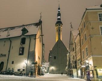 Travel wall art, print of snowy streets in medieval old town Tallinn at night, Tallinn, Estonia, Christmas city lights old town center