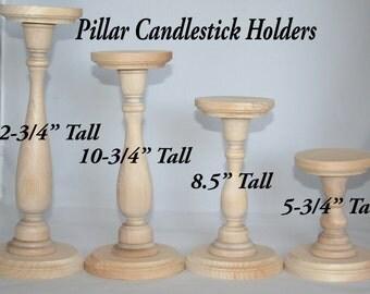 Unfinished Wood Pillar Candlestick Holders- DIY Wedding Accents, Tall Candlestick Holders, Wedding Table Candlestick Holders, Various Sizes
