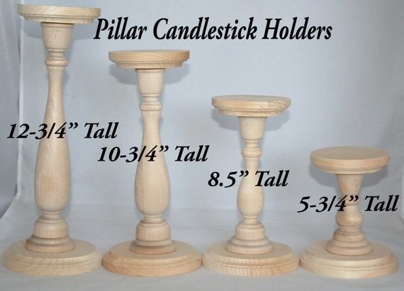 Unfinished wood pillar candlestick holders diy wedding - Unfinished wood candlestick holders ...