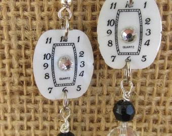 Vintage Watch Face Earrings, Steampunk Earrings, Handmade Assemblage Earrings