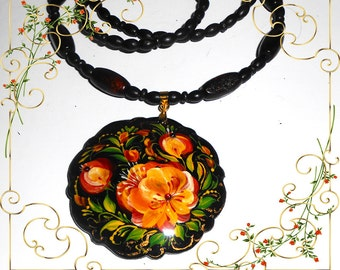 Pendant  in the Russian style Volkhovskaya in handmade circle