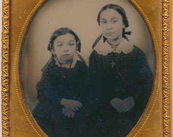 Sibling Sisters Portrait Ruby Ambrotype 19th century Photograph antique 1800s family portrait fashion