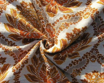 Vintage Curtain Fabric Remnant, 1960s 1970s Retro Woven Fabric, Mid Century Orange Rust Floral Synthetic Mix Knit Fabric, Curtain Cloth