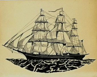Vintage ink drawing of sailing three masted ship signed ca 1977