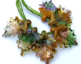 Lampwork Glass Leaves for Jewelry Making, Autumn Leaves, Set of 6 Fall Leaves, Autumn Colors, Made to Order