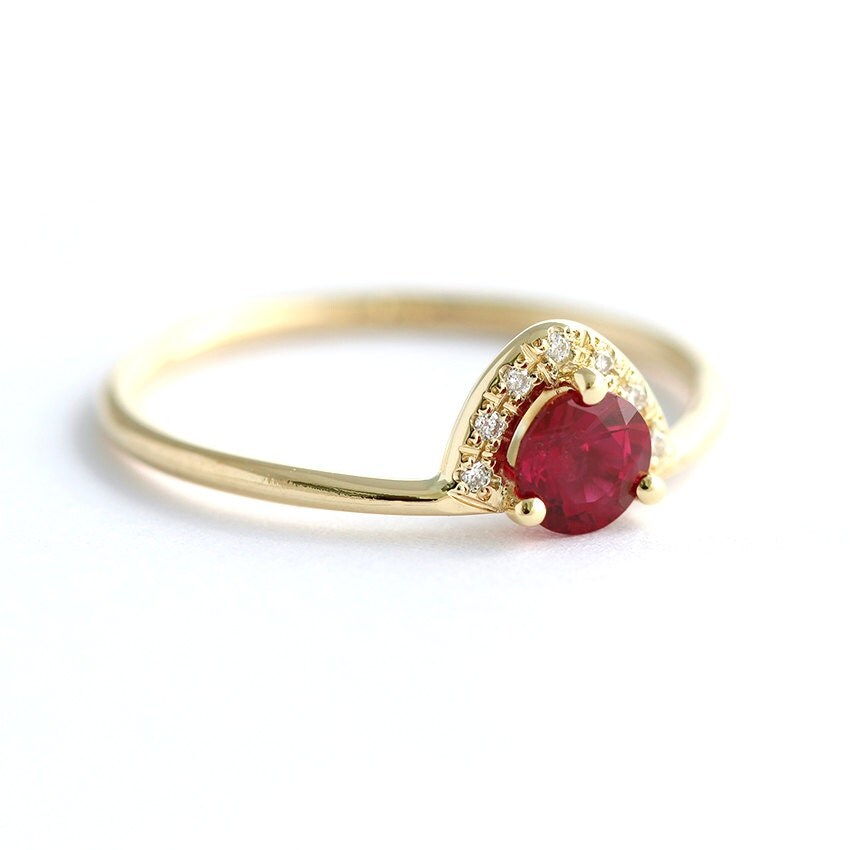 Ruby Engagement Ring Ruby & Diamond Ring Alternative by ...