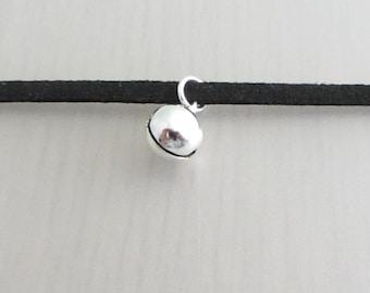 Silver Bell Charm Black Faux Suede Choker Necklace, 3mm Width Black Faux Suede Choker Necklace, Bell Charm Necklace, Musical Choker
